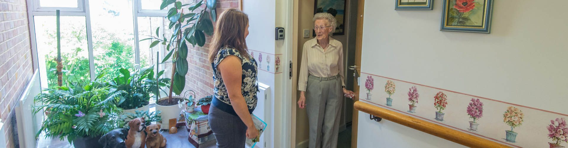 Tenant and scheme manager chatting at Priest Croft